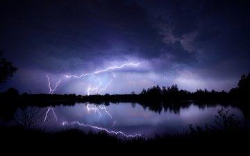 небо, вечер, озеро, тучи, отражение, молния, молнии, гроза