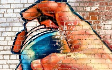 texture, hand, background, wall, paint, graffiti, spray, bricks, surface, brick wall