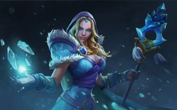 girl, look, ice, hair, face, crystals, artwork, dota 2, crystal maiden, rylai