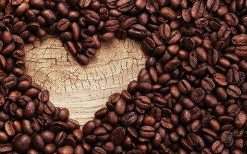 сердечко, зерна, кофе, кофейные зерна