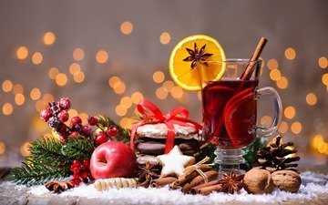 new year, nuts, drink, cinnamon, apples, orange, christmas, cookies, star anise, mulled wine