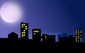 vector, the city, the moon, graphics