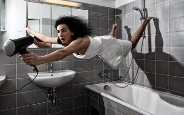 девушка, полет, креатив, полотенце, ванная, фен