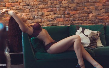 girl, pose, wall, panties, model, feet, tattoo, sofa, bra, photoshoot, lingerie, hands on head