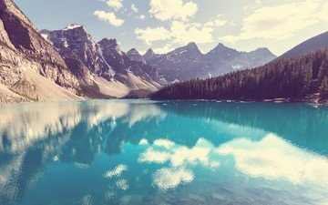 the sky, clouds, trees, lake, mountains, nature, reflection, landscape