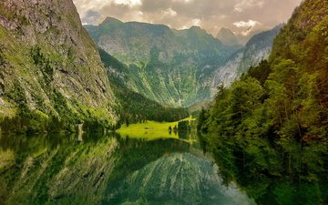 деревья, озеро, горы, природа, отражение