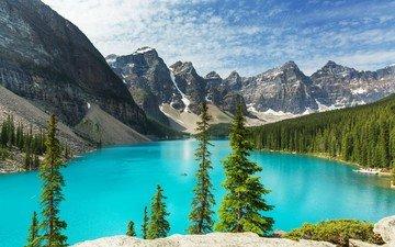 небо, облака, деревья, озеро, горы, природа, лес, пейзаж, канада, национальный парк банф, морейн