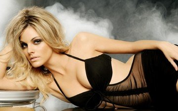 girl, blonde, model, actress, photoshoot, long hair, black lingerie, amaya salamanca