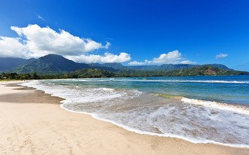 небо, облака, горы, пейзаж, море, пляж, yinyang