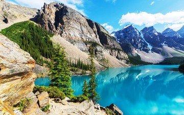 небо, облака, деревья, озеро, горы, природа, отражение, пейзаж