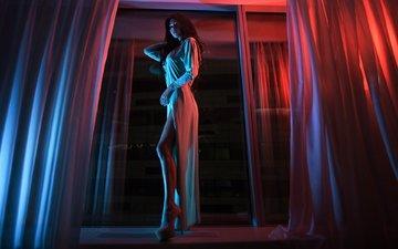 девушка, платье, брюнетка, модель, темнота, позирует, эля, высокие каблуки, иван горохов