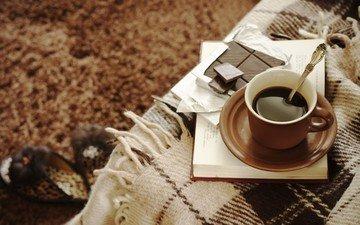 кофе, чашка, плед, шоколад