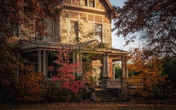 trees, autumn, garden, house, old house, facade, blair turrell