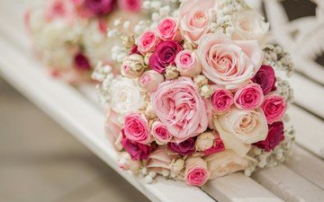 flowers, buds, roses, bouquet, composition, gypsophila