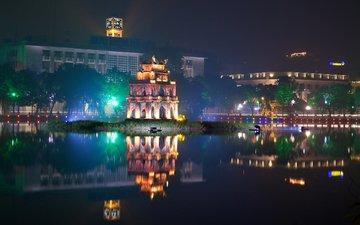night, lights, the city, vietnam, hanoi