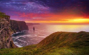 скалы, закат, пейзаж, море