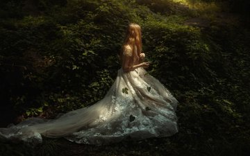 forest, leaves, girl, mood, hair, white dress, tj drysdale, secret place