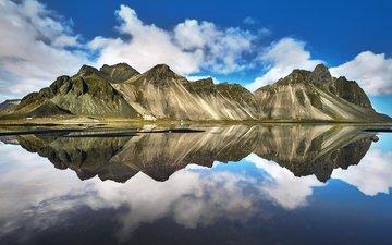 озеро, горы, отражение, пейзаж, исландия, etienne ruff