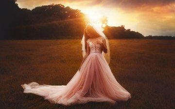 солнце, природа, девушка, платье, блондинка, невеста