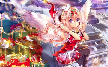 girl, look, glasses, gifts, wings, anime, hair, face, christmas