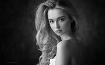 girl, portrait, look, black and white, model, hair, lips, face, anna, dennis drozhzhin