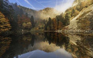 деревья, озеро, горы, природа, лес, отражение, etienne ruff