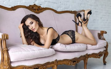 girl, brunette, ass, model, sofa, black lingerie, lying, high heels, denis petrov
