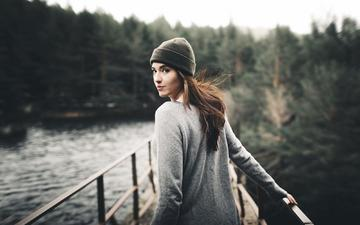 water, river, nature, forest, girl, look, hair, face, bea, nacho zàitsev