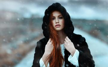 girl, portrait, look, red, lips, face, hood, coat, alessandro di cicco