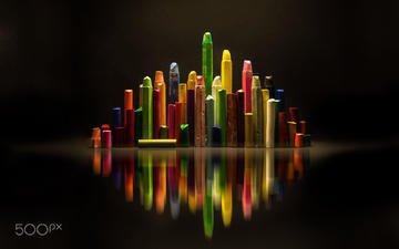 свет, отражение, разноцветные, черный фон, мелки, пастель, antonio coelho
