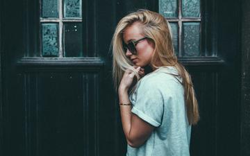 girl, blonde, glasses, model, profile, hair, face, ben parker