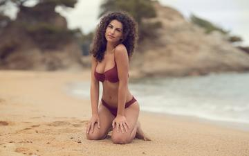 girl, sea, pose, sand, beach, look, hair, face, bikini