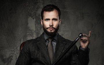 усы, взгляд, лицо, мужчина, галстук, трость, борода, брюнет