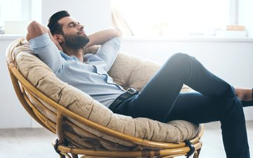 jeans, male, beard, brunette, closed eyes