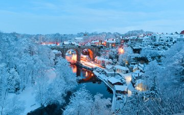 winter, bridge, the city, england, north yorkshire, knaresborough, harrogate