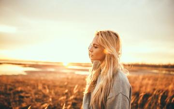 girl, blonde, field, look, profile, hair, face, endless, ben parker