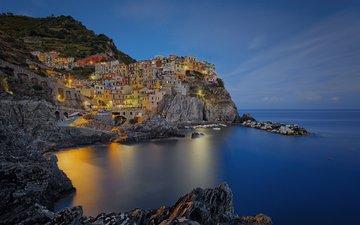 ночь, огни, море, скала, город, италия, манарола, etienne ruff