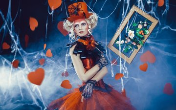 flowers, girl, picture, dress, blonde, creative, curls, outfit, web, hearts, frame, hat, bows, mitts