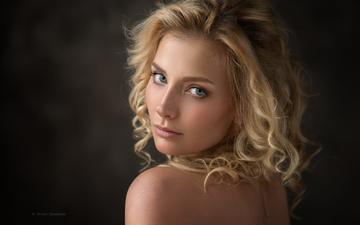 girl, blonde, portrait, look, model, hair, black background, face, dennis drozhzhin, galina