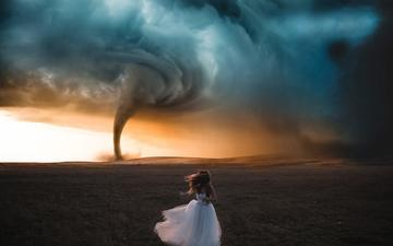 the sky, field, running, white dress, tornado, vortex, nacho zàitsev