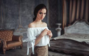 girl, brunette, look, model, kristina, george chernyadev, bare shoulders, kristina nevskaya