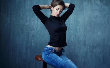 девушка, модель, джинсы, волосы, лицо, закрытые глаза, шон арчер, lidia
