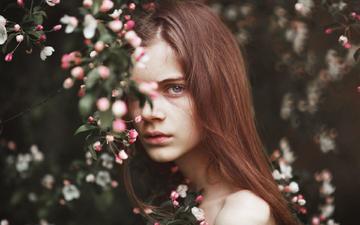 цветение, девушка, ветки, взгляд, модель, весна, волосы, лицо, lilli, alessio albi
