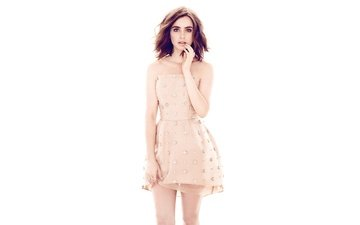girl, dress, look, model, hair, face, actress, lily collins