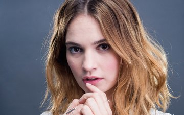 girl, portrait, look, model, hair, face, actress, brown hair, lily james, scott gries
