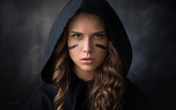 girl, portrait, look, model, hair, face, hood, denis drozhzhin