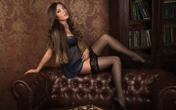 girl, pose, look, legs, stockings, hair, face, heels, sofa, egor demidov