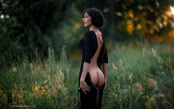 flowers, grass, girl, brunette, model, profile, tattoo, back, black dress, ass, mihail gerasimov