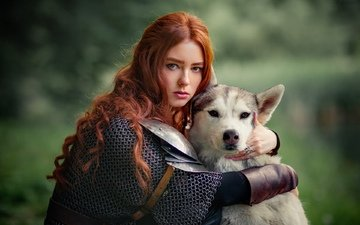 girl, muzzle, look, dog, model, face, husky, armor, redhead, olga boyko