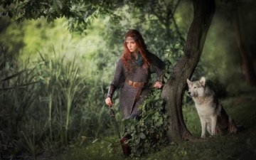 trees, forest, girl, muzzle, look, dog, model, husky, armor, redhead, olga boyko